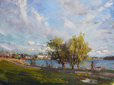 Field Flowers Painting - Spring At Gratwick Waterfront Park by Ylli Haruni