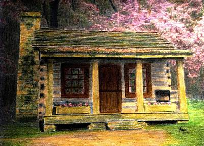 Drawing - Spring At The Cabin by Angela Davies