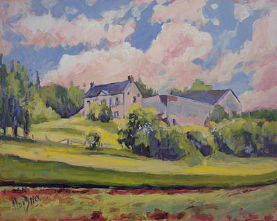 Meuse Painting - Spring At The Hoeve Zonneberg Maastricht by Nop Briex