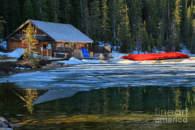 Photograph - Spring At The Lake Louise Boat House by Adam Jewell