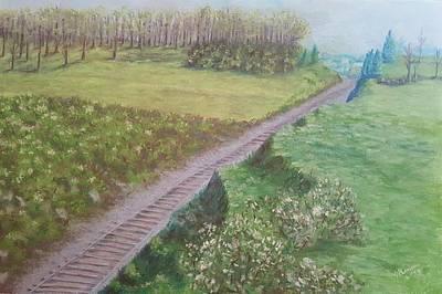 Kohr Pastel - Spring At The Railroad Cut Gettysburg by Joann Renner