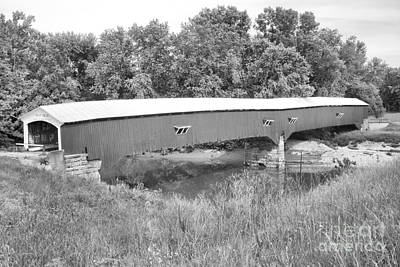 Photograph - Spring At The West Union Covered Bridge Black And White by Adam Jewell