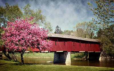 Photograph - Spring At West Montrose Covered Bridge by Robin Webster
