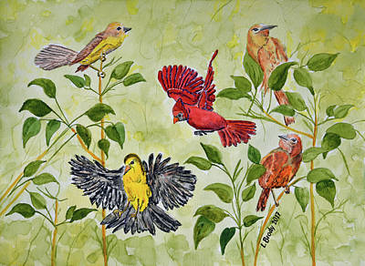 Animals Royalty-Free and Rights-Managed Images - Spring Birds Watercolor by Linda Brody