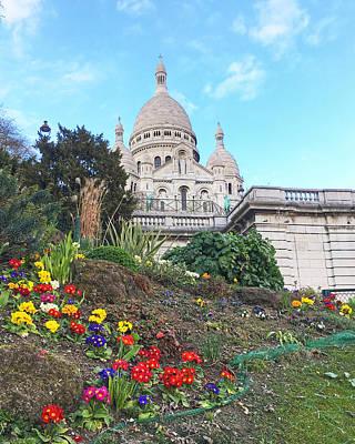 Photograph - Spring Blooms Sacre Couer Paris France by Lawrence S Richardson Jr