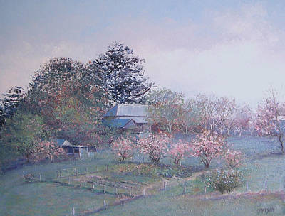 Farm House Painting - Spring Blossom Time by Jan Matson