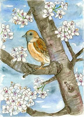 Painting - Spring Blossoms Sparrow by Cathie Richardson