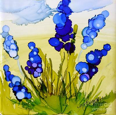 Alcohol Ink Wall Art - Painting - Spring Blues by Marla Beyer