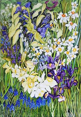 Muscari Painting - Spring Border by Joan Thewsey