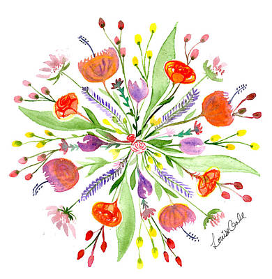 Painting - Spring Bouquet Botanical Mandala by Louise Gale