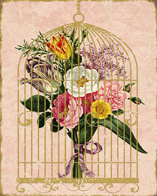 Cage Mixed Media - Spring Bouquet I by Marilu Windvand