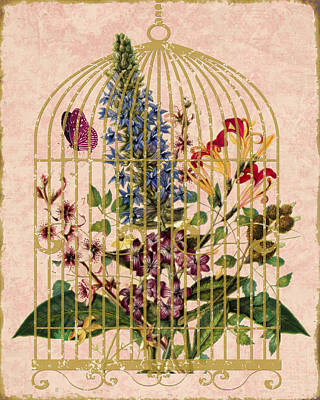 Cage Mixed Media - Spring Bouquet II by Marilu Windvand