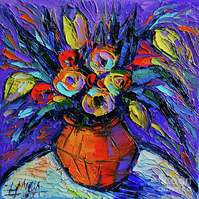 Spring Bouquet In Orange Vase - Impasto Palette Knife Oil Painting Art Print by Mona Edulesco