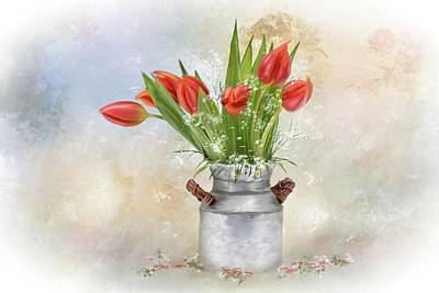Mixed Media - Spring Bouquet Of Tulips by Mary Timman