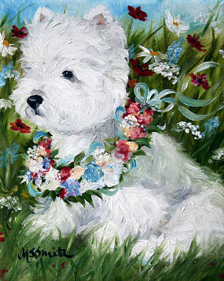 White Dog Painting - Spring Breezes by Mary Sparrow