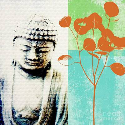Leaf Green Mixed Media - Spring Buddha by Linda Woods