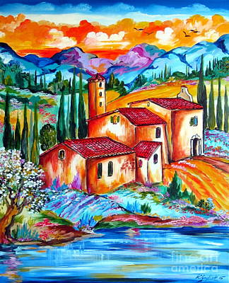 Roberto Painting - Spring By The Old Farmhouse In Tuscany by Roberto Gagliardi