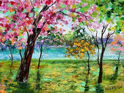 Cherry Blossoms Painting - Spring Canopy Of Color by Karen Tarlton