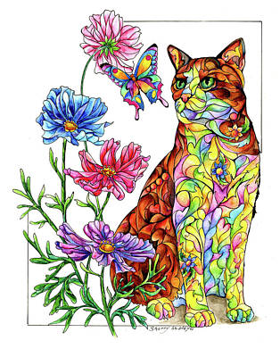 Painting - Summer Cat With Butterfly by Sherry Shipley
