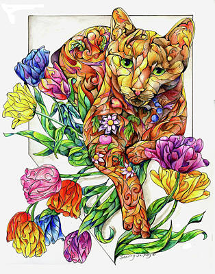 Animal Painting - Spring Cat With Tulips by Sherry Shipley