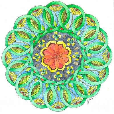Wall Art - Painting - Spring Celtic Knot Mandala by Jeanette Clawson