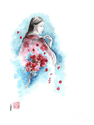 Spring - Cherry Blossom. Geisha. Original