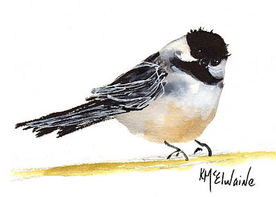 My Little Chickadee Bird Art Watercolor And Gouache And Ink Painting By Kmcelwaine Art Print by Kathleen McElwaine