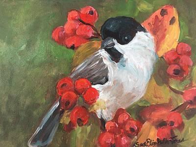 Painting - Spring Chickadee by Susan Elizabeth Jones