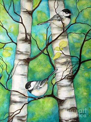 Painting - Spring Chickadees by Inese Poga