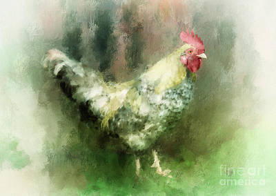 Art Print featuring the digital art Spring Chicken by Lois Bryan