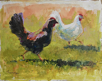 Country Kitchen Painting - Spring Chickens by Tracie Thompson