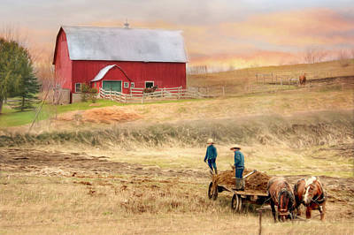 Amish Farms Mixed Media - Spring Chores by Lori Deiter