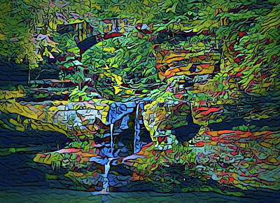 Painting - Spring Colors In Upper Falls Hocking Hills by Dan Sproul