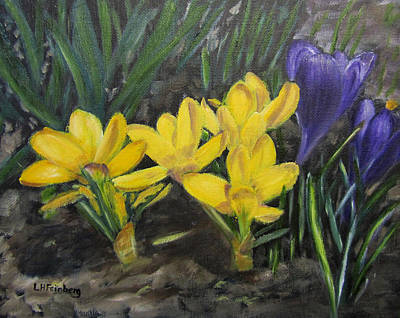 Painting - Spring Crocuses by Linda Feinberg