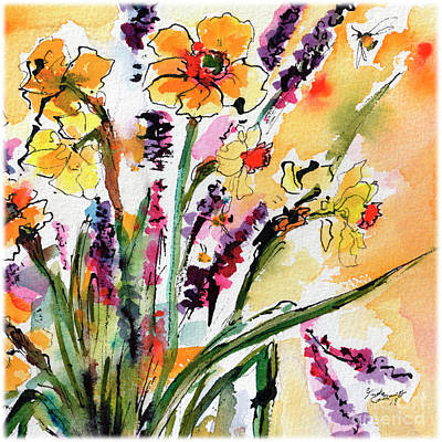 Painting - Spring Daffodils Flowers Watercolor Painting by Ginette Callaway