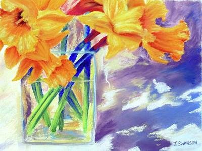 Pastel - Spring Daffodils by Joan Swanson