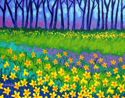 Flower Card Painting - Spring Daffodils by John  Nolan
