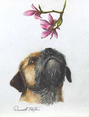 Puppy Drawing - Spring by Daniele Trottier