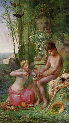Novel Painting - Spring, Daphnis And Chloe by Jean-Francois Millet