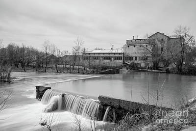 Photograph - Spring Day At Ozark Mill Grayscale by Jennifer White