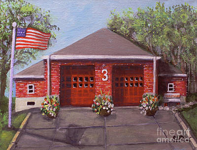Fire Department Painting - Spring Day At Willow Fire House by Rita Brown