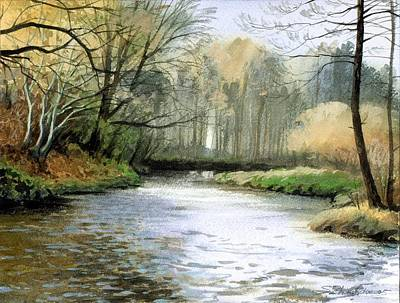 Art Print featuring the painting Spring Day On A River by Sergey Zhiboedov