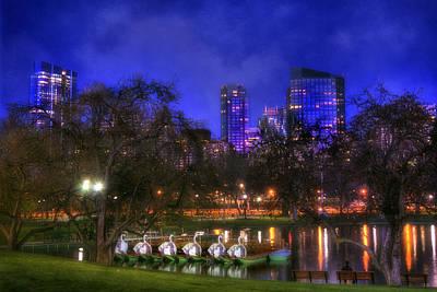 Night Skyline Photograph - Spring Evening In The Boston Public Garden by Joann Vitali