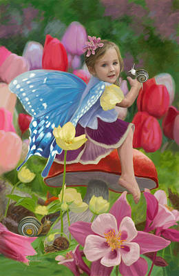 Mushrooms Painting - Spring Fairy by Lucie Bilodeau