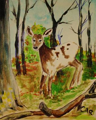 Whitetail Fawn Painting - Spring Fawn by Charles Ray