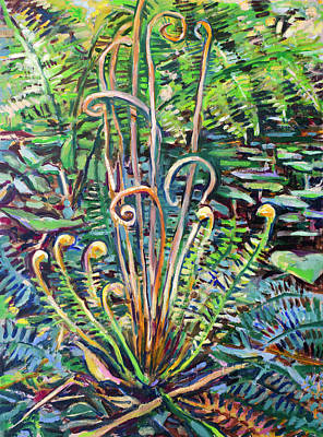 Painting - Spring Ferns by Ann Heideman