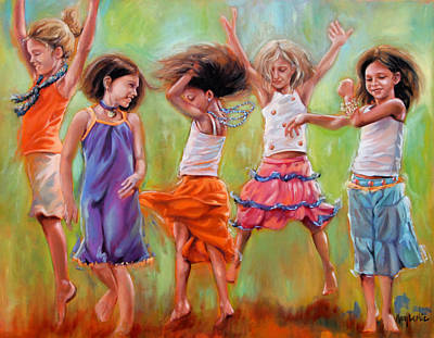 Dancing Girl Painting - Spring Fever by Mary Leslie