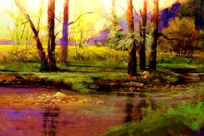 Painting - Spring Fields Along Sunlite Creek by Joseph Barani