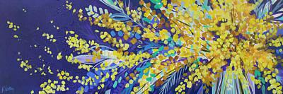 Drip Painting - Spring Fling Forsythia by Kristin Whitney