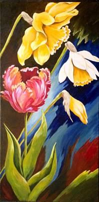Daffodils Painting - Spring Fling by Karen Dukes